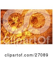 Clipart Illustration Of Orange And Yellow Leaves On Plants Over A Textured Orange Background