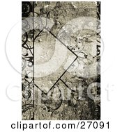 Clipart Illustration Of A Black Diamond With Text Space Adorned With Delicate Black Curly Vines Over A Painted Texture Background by KJ Pargeter