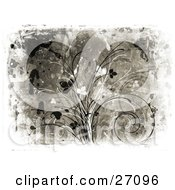 Clipart Illustration Of A Gray Background With Black And White Vines And Leaves And Splatters With A Canvas Texture