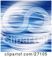 Clipart Illustration Of A Mysterious Blue Planet With Rippled Designs Over A Similar Background
