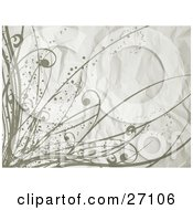 Clipart Illustration Of A Wrinkled Off White Background With Grunge Dots And Curly Grasses by KJ Pargeter