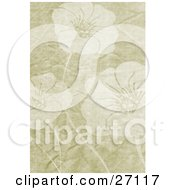 Clipart Illustration Of A Floral Background Of Three Faded Flowers On A Tan Grunge Canvas Textured Background by KJ Pargeter