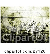 Clipart Illustration Of Black Silhouetted Plants Bordering The Bottom Of A Wooden Grunge Green Background