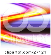 Clipart Illustration Of A Curve Of Purple Yellow And Red Light Over A White Background