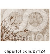 Clipart Illustration Of A Textured Brown Background With Brown Plants And Flowers