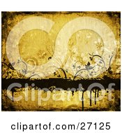 Clipart Illustration Of An Orange Grungy Background Of Dark Brown Silhouetted Vines And Flowers Around A Blank Text Box With Dripping Paint
