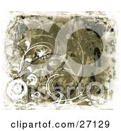 Clipart Illustration Of A Butterfly Fluttering In Flowers Curly Vines And Circles On A Textured Canvas Background In Browns And Blacks
