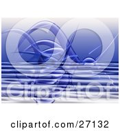 Clipart Illustration Of Blue Transparent Alien Tentacle Arms Emerging Over A Rippled Surface by KJ Pargeter