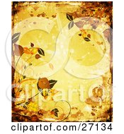 Clipart Illustration Of A Yellow Grunge Background With Splatters And Smears Bordered By Orange And Brown Leaves And Scrolls