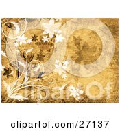 Clipart Illustration Of White And Black Flowers And Vines With Grunge Textures Over A Brown Background