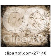 Clipart Illustration Of A Brown Background Bordered By Black Grunge And Faded Flowers And Butterflies