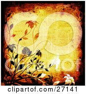 Clipart Illustration Of A Yellow Background With Scratches And Scuffs Bordered By Black Grunge And Black White And Orange Flowers And Vines