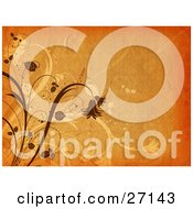 Clipart Illustration Of A Textured Orange Background With Brown Plants And Flowers