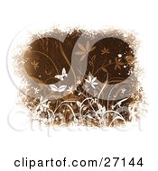 Clipart Illustration Of A White Butterfly Fluttering Over White And Brown Plants On A Brown Textured Background Bordered By White Grunge