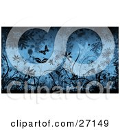 Clipart Illustration Of A Wintry Background Of Silhouetted Black Butterflies And Plants With Falling Snowflakes