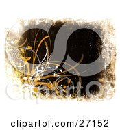 Clipart Illustration Of A Dark Brown Grunge Background With White Circles And Vines An Curly Orange And Yellow Grasses