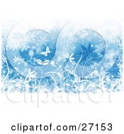 Clipart Illustration Of A Wintry Background Of Silhouetted White Butterflies And Plants With Falling Snowflakes Over Blue by KJ Pargeter