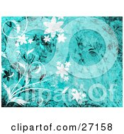 Clipart Illustration Of White And Black Flowers And Vines With Grunge Textures Over A Blue Background