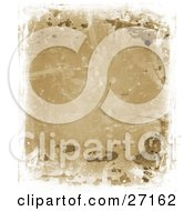 Clipart Illustration Of A Grungy Brown Background With Splatters Spears And Water Markings Bordered By White