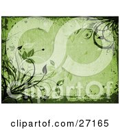 Clipart Illustration Of Organic Green Leaves And Vines With Grunge Borders On A Green Background