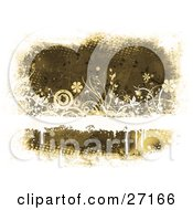 Clipart Illustration Of A Brown Grunge Background With A Blank White Text Bar With Dripping Paint Flowers Plants And Circles