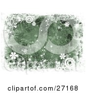 Clipart Illustration Of A Green Canvas Textured Background With Splatters Bordered By White Circles Vines And Flowers