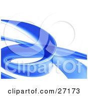 Clipart Illustration Of A Curling Blue Transparent Tube Curving Over A White Background