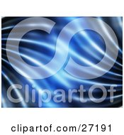 Clipart Illustration Of A Rippled Blue Background With Brighter Light In The Center And Dark Light Along The Edges