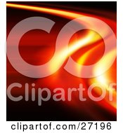 Clipart Illustration Of A Fiery Curving Orange And Red Line Over A Red Background by KJ Pargeter
