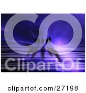 Clipart Illustration Of Mysterious Silhouetted Beings Walking In The Distance Over A Purple Rippling Liquid Surface And A Blue Bursting Background