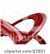 Clipart Illustration Of A Twisting Red Transparent Tube Curving Over A White Background