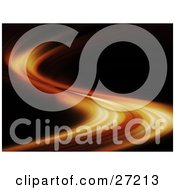 Clipart Illustration Of A Fast Line Of Fire Curving Along A Black Background by KJ Pargeter