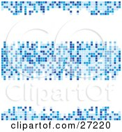 Three Rows Of Light Medium And Dark Blue Squares Forming Mosaics Over A White Background by elaineitalia