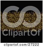 Clipart Illustration Of A Horizontal Golden Mosaic Row On A Black Background by elaineitalia