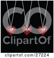 Clipart Illustration Of Three Sparkling Red Disco Like Heart Pendants Suspended From Silver Necklaces Over A Black Background by elaineitalia