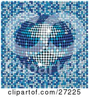 Clipart Illustration Of A Sparkling Blue Mirror Disco Ball Spinning Over A Blue And White Mosaic Background