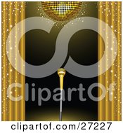 Clipart Illustration Of A Golden Microphone On A Stand On A Stage Framed By Golden Sparkling Curtains Under A Gold Disco Ball by elaineitalia #COLLC27227-0046