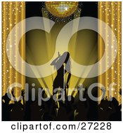 Clipart Illustration Of A Silhouetted Female Musician Singing On Stage Under A Golden Disco Ball And Silhouetted Fans Waving Their Arms by elaineitalia #COLLC27228-0046