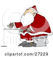 Clipart Illustration Of Santa Sitting On A Pail And Ice Fishing On A Frozen Lake by Dennis Cox