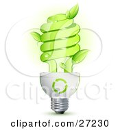 Clipart Illustration Of A Green Energy Efficient Lightbulb With Leaves Sprouting From The Glass And Green Arrows Above The Spiral