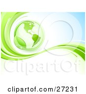 Clipart Illustration Of A Green Globe Circled By A Green Dew Covered Leaf Above A Green Wave On A Blue And White Background