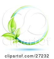 Clipart Illustration Of A Green Plant With Dew Covered Leaves Circling A Blue And White Orb Over A White Background With Blue Shadows by beboy #COLLC27232-0058