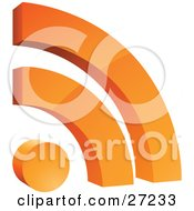 Orange Rss Symbol With Two Arches Over A Circle Over White