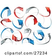 Clipart Illustration Of A Background Of Red Gray And Blue Circling Arrows Over White