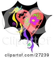 Clipart Illustration Of A Pink Heart With A Purple Flower And Colorful Ribbons Over Black by bpearth
