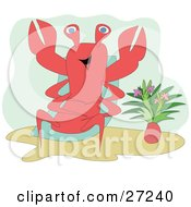 Clipart Illustration Of A Relaxed Lobster Soaking Up The Sun In A Lounge Chair By A Vase Of Flowers by bpearth