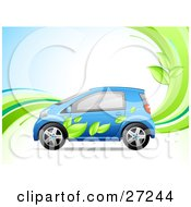 Clipart Illustration Of A Blue Compact Car With A Green Leaf Paint Job On The Side Symbolizing An Eco Friendly Hybrid Vehicle On A Background With Waves And Leaves