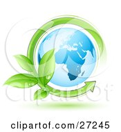 Clipart Illustration Of A Green Arrow Sprouting Dew Covered Leaves Circling The Blue Earth by beboy