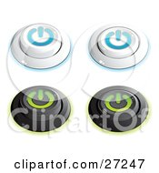 Set Of White And Blue And Black And Green Power Buttons In On And Off Positions On A White Background