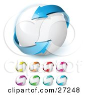 Clipart Illustration Of A Blue Arrow Circling A White Ball Symbolizing Circulation Recycling And Ecology And Includes Yellow Orange Red Pink Purple Green And Light Blue Versions